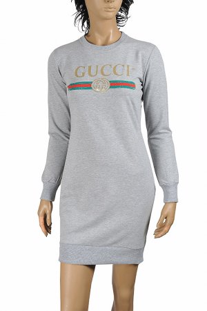 GUCCI knitted long dress with front dragonfly appliqué 396