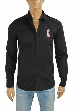 GUCCI men's dress shirt with front bunny embroidery 399