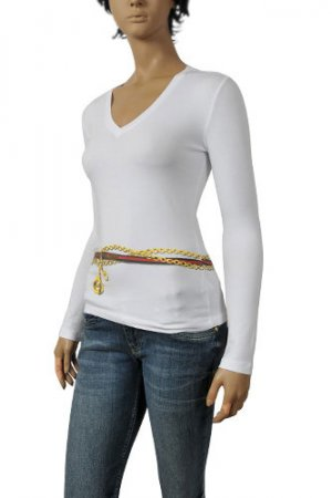 GUCCI Ladies Long Sleeve V-Neck Top #196