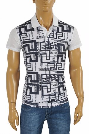 VERSACE men's polo shirt with front print #174
