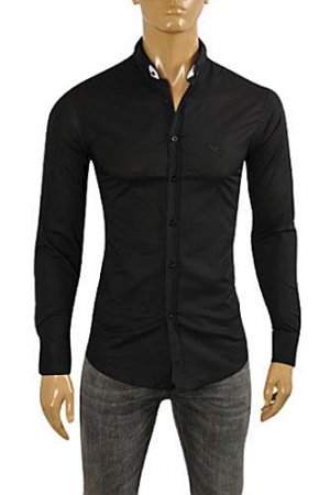 EMPORIO ARMANI Men's Dress Shirt In Black #254