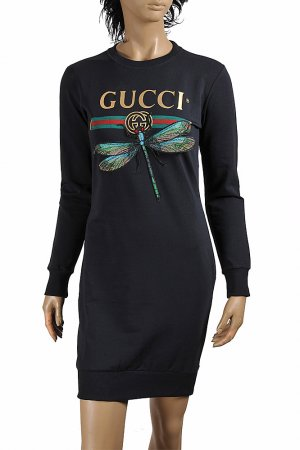 GUCCI cotton long dress with front dragonfly appliqué 397