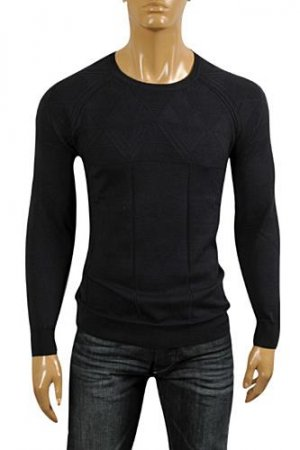VERSACE Men's Round Neck Sweater In Navy Blue #20