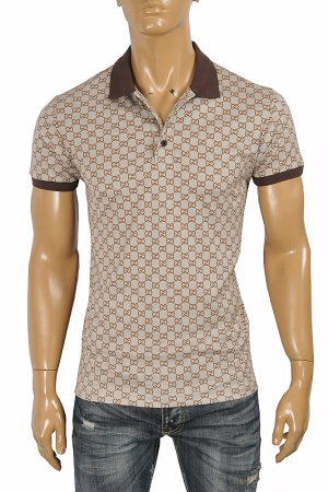GUCCI men's cotton polo with signature interlocking GG logo 402