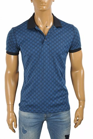 GUCCI men's cotton polo with signature interlocking GG logo 403