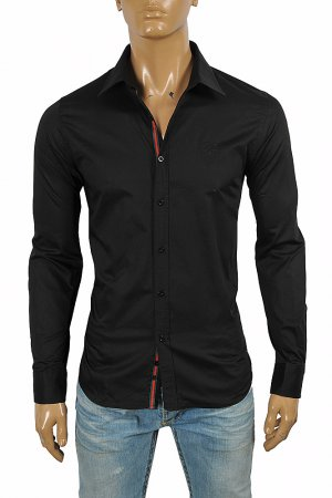 GUCCI men's dress shirt with front logo embroidery 416