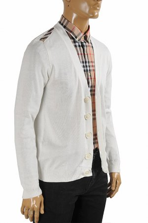 BURBERRY men cardigan button down sweater in white color 266