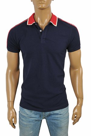 GUCCI men's cotton polo with GUCCI stripe in navy blue color #38