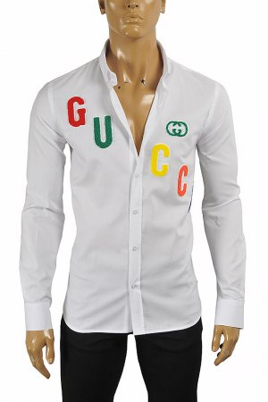 GUCCI men's dress shirt with front appliqué 417