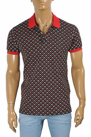 GUCCI men's cotton polo with signature interlocking GG logo 401