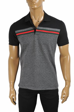 GUCCI men's cotton polo with signature red and green stripe 404