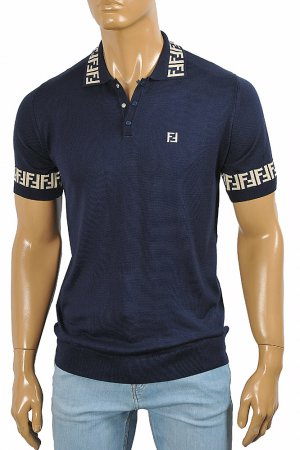 FENDI men's polo shirt in navy blue, FF print 50