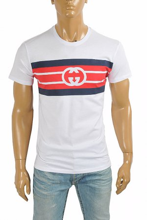 GUCCI cotton T-shirt with front print logo 288