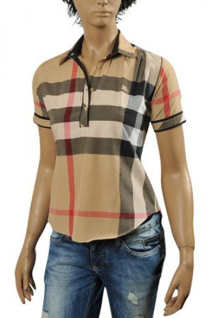 BURBERRY Ladies' Short Sleeve Button Up Shirt #152