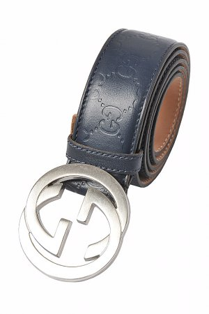 GUCCI GG men's leather belt in navy blue 68