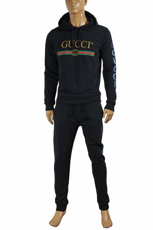 GUCCI men's zip up jogging suit in navy blue color 166