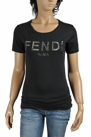 FENDI women's cotton T-shirt with front logo appliqué 40