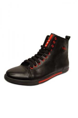 PRADA Ladies High Leather Sneaker Shoes #105
