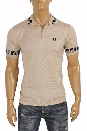 FENDI men's polo shirt, FF print 44