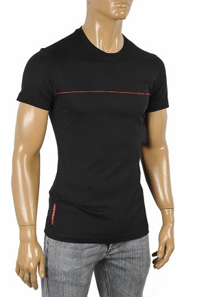 PRADA Men's cotton T-shirt with print in black 106