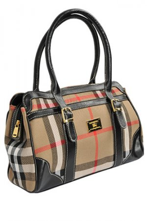 BURBERRY Medium Leather and Nylon Bowling Bag #8