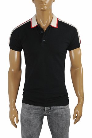 GUCCI men's cotton polo with GUCCI stripe in black color #384