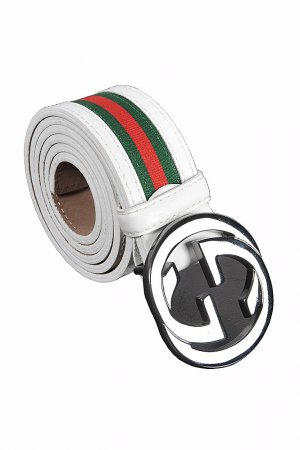 GUCCI GG leather buckle belt with red and green stripe 75