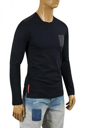 PRADA Men's Long Sleeve Fitted Shirt In Navy Blue #88
