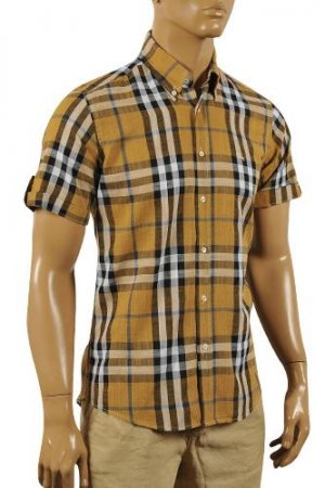 BURBERRY Men's Short Sleeve Button Up Shirt #158