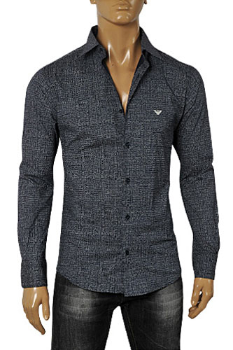 EMPORIO ARMANI Men's Button Up Dress Shirt In Grey #231