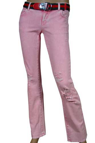 GUCCI Pink Ladies Straight Leg Jeans With Belt #12
